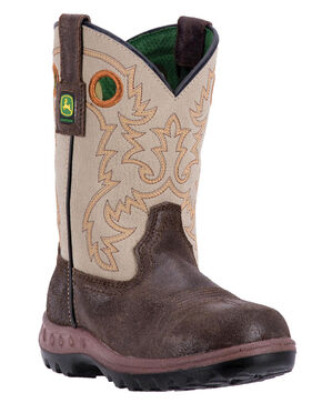 John Deere Boys' Johnny Popper Waterproof Camo Western Boots - Round Toe, Coffee, hi-res