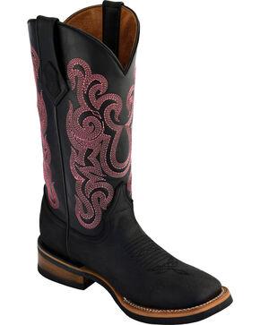 Ferrini Women's Maverick Black Cowgirl Boots - Square Toe , Black, hi-res