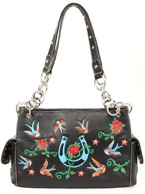 Blazin Roxx Floral Embroidered Satchel Handbag, Black, hi-res