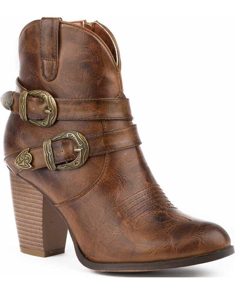 05675618bda Roper Women's Maybelle Burnished Brown Belted Short Western Boots - Round  Toe