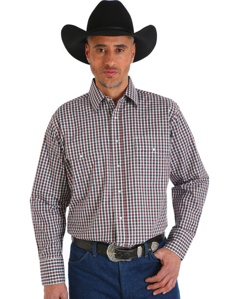 Wrangler Men's Wrinkle Resistant Brown Plaid Western Snap Shirt, Brown, hi-res