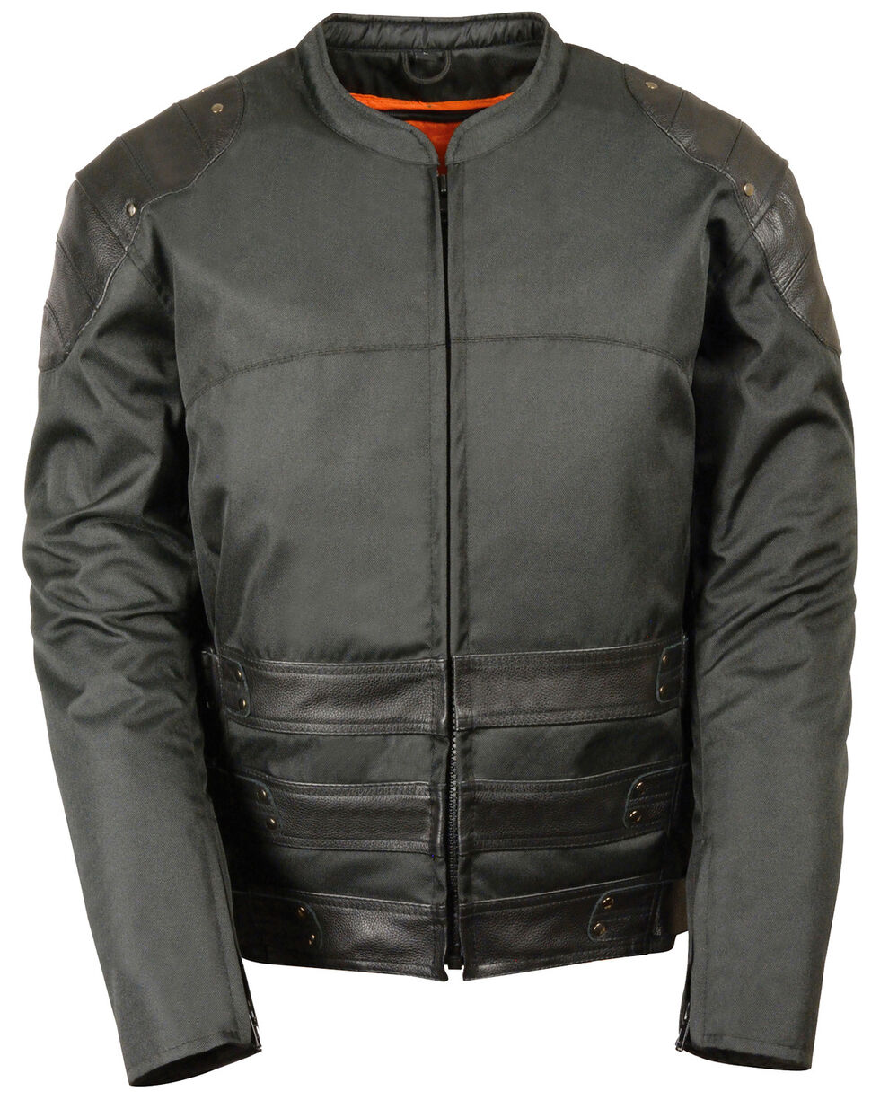 Milwaukee Leather Men's Assault Style Leather/Textile Racer Jacket - 4XL, Black, hi-res
