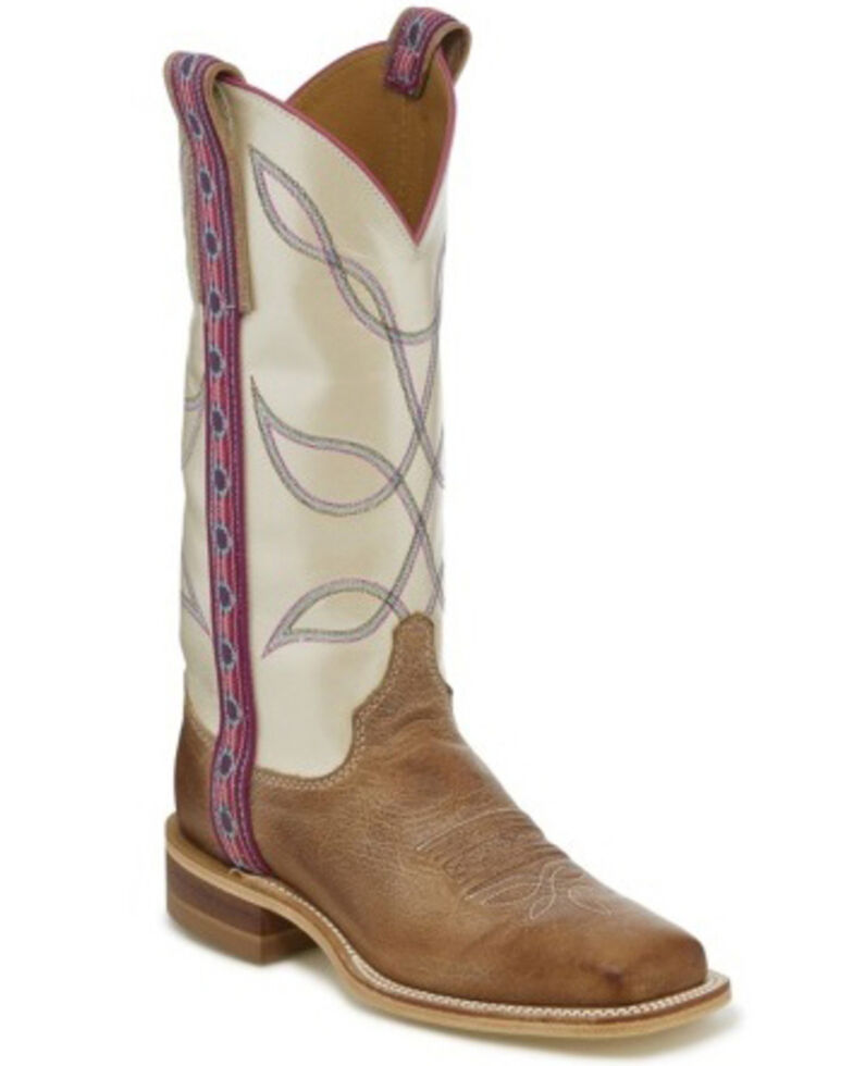 Justin Women's Aransas Florence Western Boots - Wide Square Toe, Wheat, hi-res