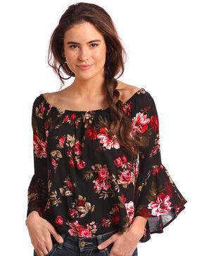 Panhandle Women's Bell Sleeve Floral Print Top, Black, hi-res