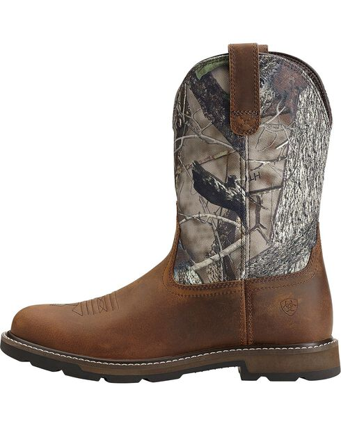 Ariat Groundbreaker Camo Pull-On Work Boots - Round Toe, Brown, hi-res