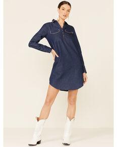 Karman Women's Denim Stitched Dress, Blue, hi-res