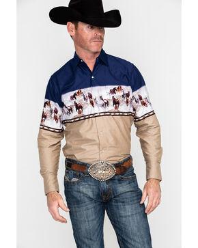 Ely Cattleman Men's Border Print Long Sleeve Western Shirt - Tall , Navy, hi-res