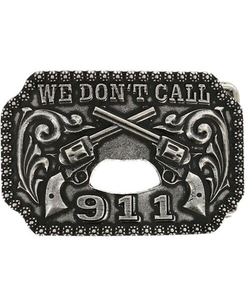 Cody James We Don't Call 911 Belt Buckle, Silver, hi-res
