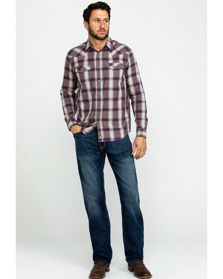 Moonshine Spirit Men's Paydirt Plaid Long Sleeve Western Shirt , Grey, hi-res