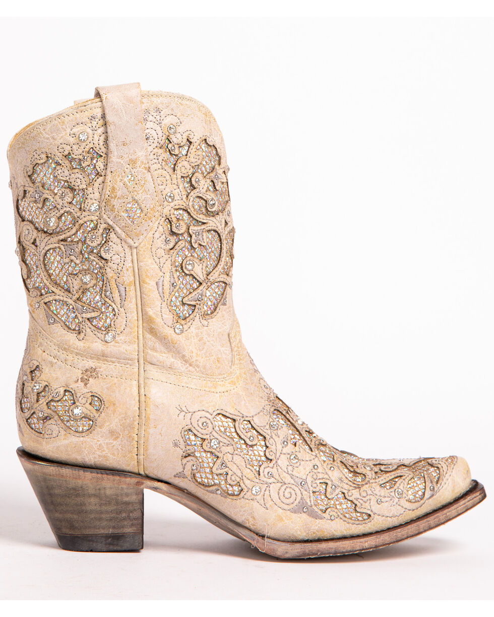 Corral Women's Metallic Glitter Inlay & Crystals Ankle Boots - Snip Toe, White, hi-res