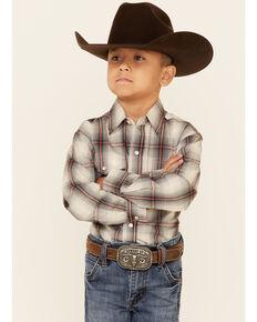 Roper Boys' Grey Smoke Ombre Plaid Long Sleeve Snap Western Shirt , Grey, hi-res