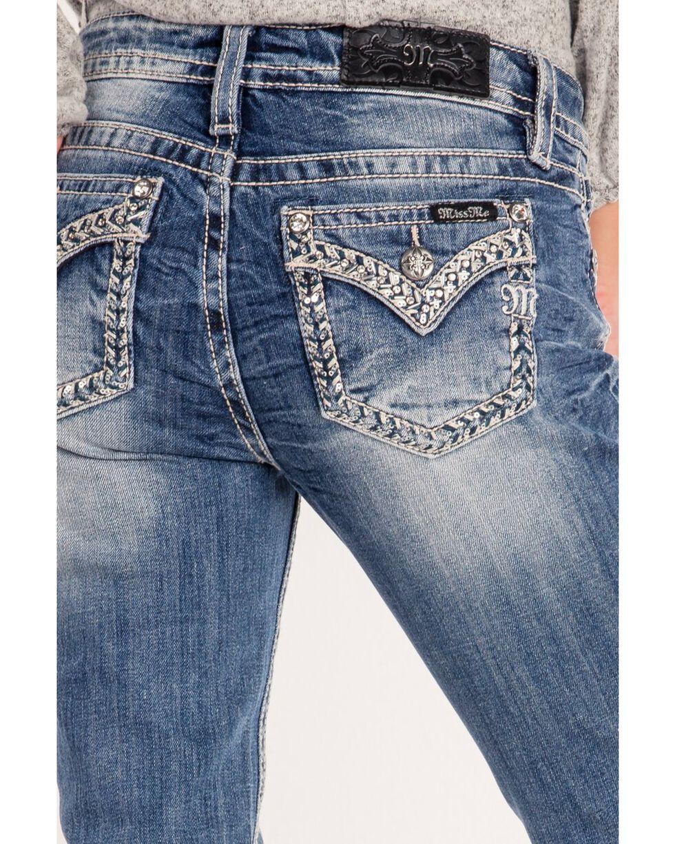 Miss Me Women's Sequin Weave Pocket Outline Boot Jeans, Blue, hi-res