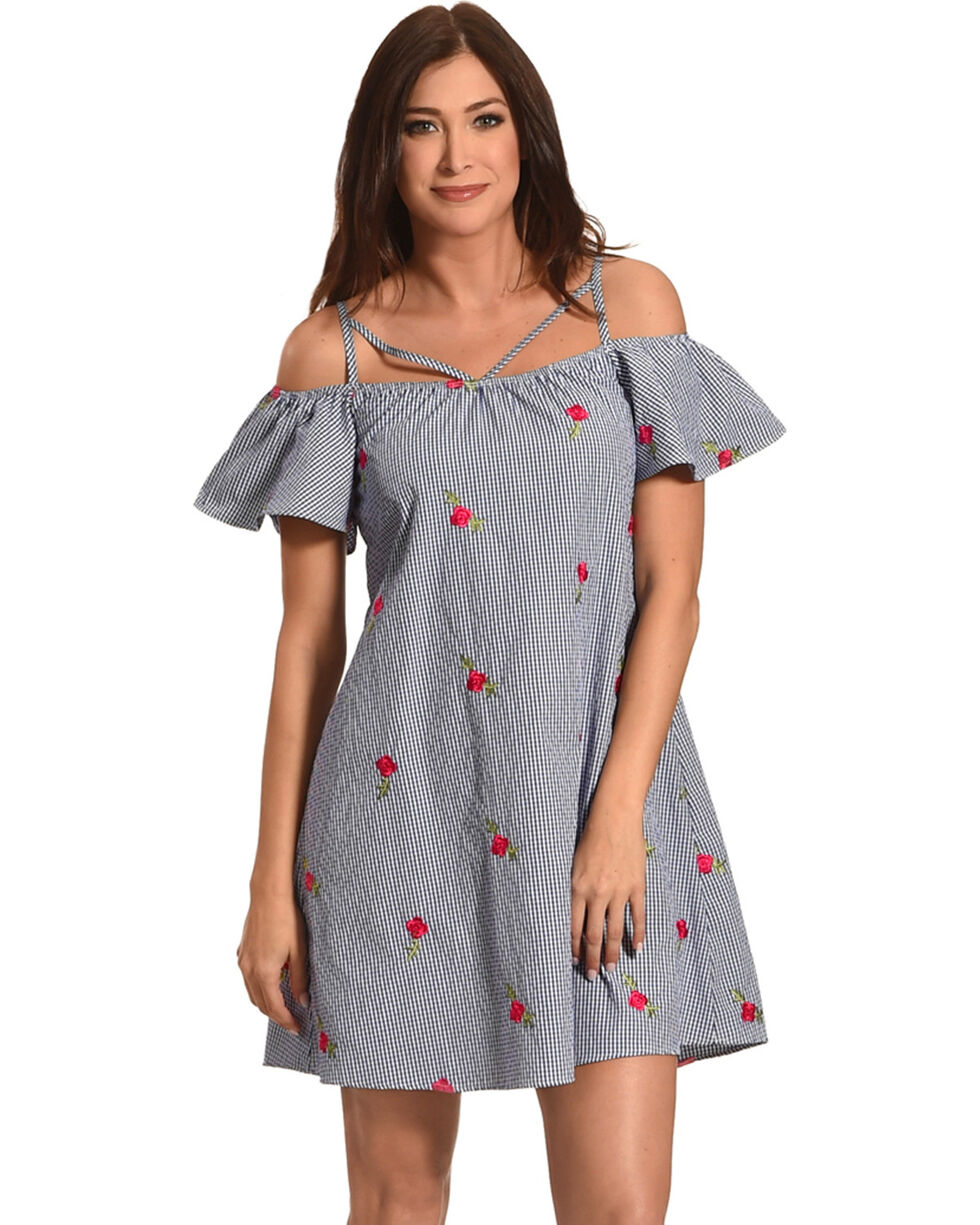Jody of California Women's Blue Gingham Dress , Blue, hi-res