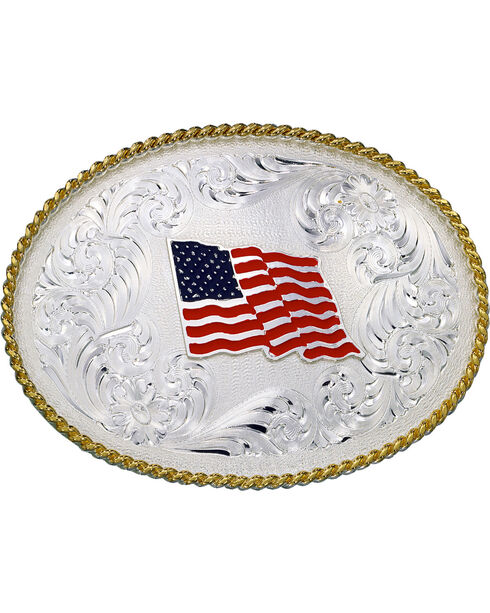 Montana Silversmiths American Flag Oval Buckle, Silver, hi-res