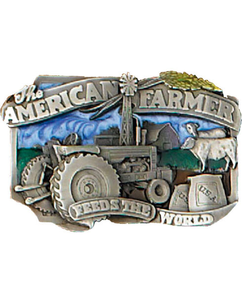 Western Express Men's American Farmers Feed the World Belt Buckle, Blue, hi-res