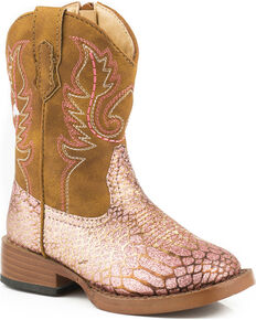 Roper Toddler Girls' Pink Glittery Western Boots - Square Toe, Pink, hi-res