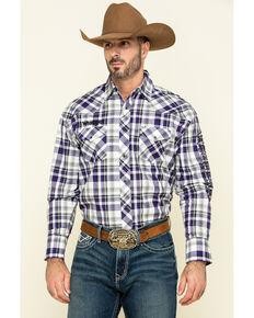 Wrangler Men's Prism Violet Med Plaid Logo Long Sleeve Western Shirt , Purple, hi-res
