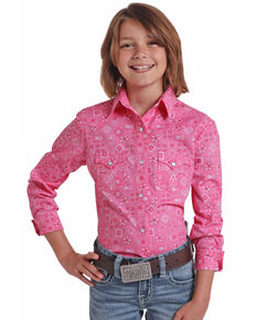 White Label by Panhandle Girls' Hot Pink Floral Long Sleeve Western Shirt , Pink, hi-res