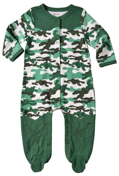 Wrangler Infant Boys' Long Sleeve Green Camo Footed Romper, Green, hi-res