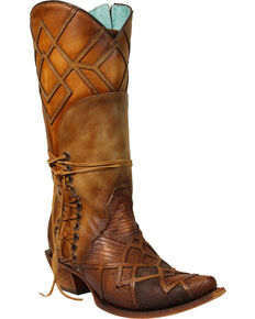 Corral Women's Lizard Laser Overlay Cowgirl Boots - Snip Toe, Honey, hi-res