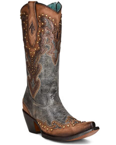 Corral Women's Almond Laser Western Boots - Pointed Toe , Brown, hi-res