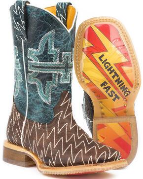 Tin Haul Boys' Thunderbolt Cowboy Boots - Square Toe, Brown, hi-res