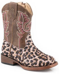 Roper Toddler Girls' Glitter Leopard Western Boots - Square Toe, Pink, hi-res