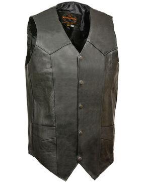 Milwaukee Leather Men's Black Snap Front Biker Vest - Big & Tall , Black, hi-res