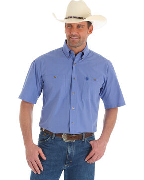 Wrangler George Strait Men's Blue Check Short Sleeve Shirt, Blue, hi-res