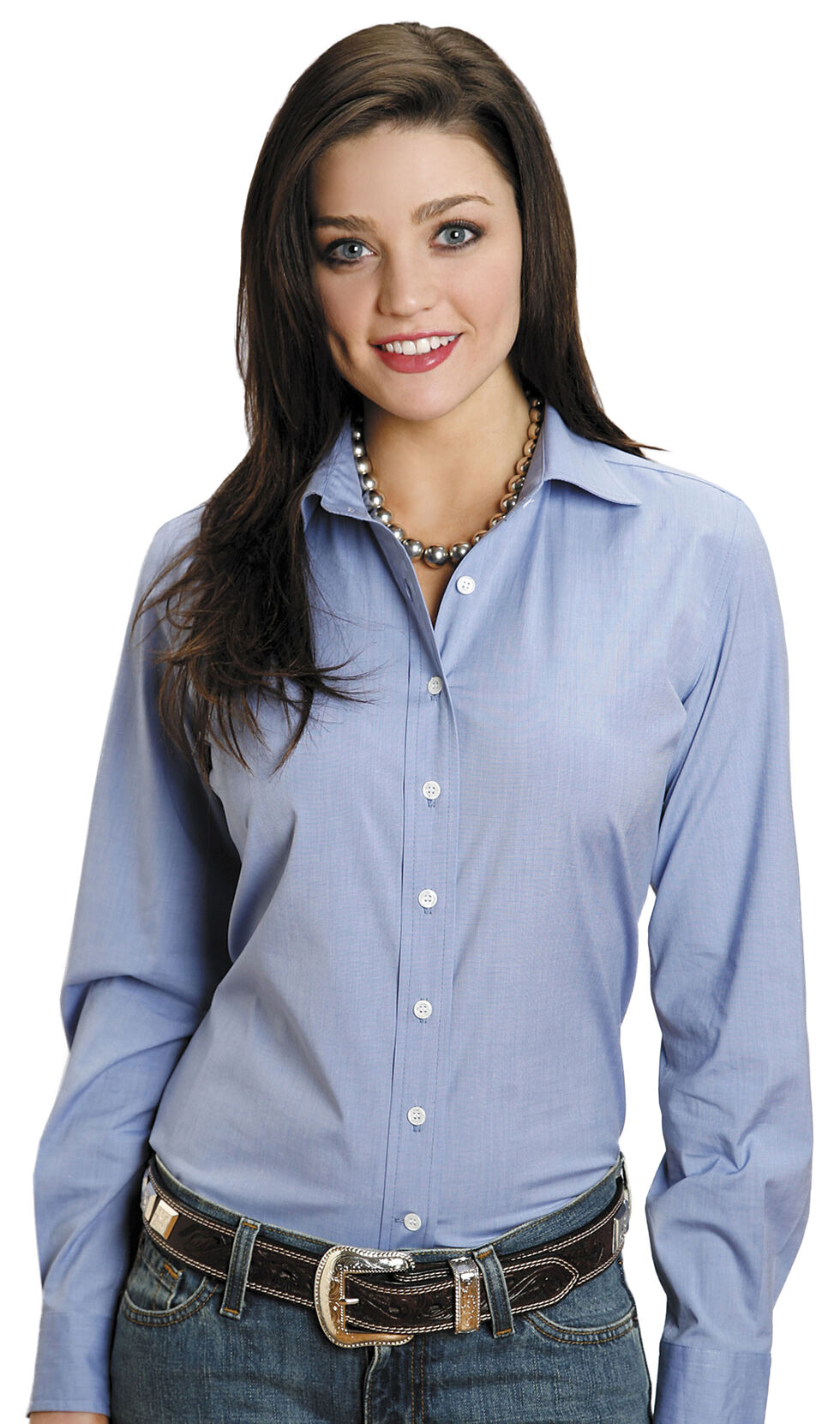 Stetson Women's End on End Solid Button-Down Shirt, Blue, hi-res