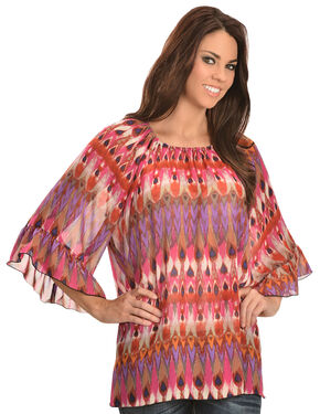 Wrangler Rock 47 Women's Ruffle Sleeve Elastic Neck Chiffon Shirt, Multi, hi-res