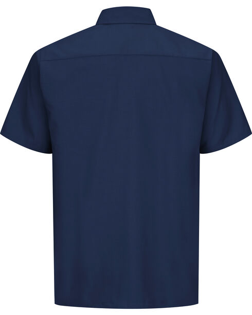 Red Kap Men's Navy Rip Stop Short Sleeve Work Shirt , Navy, hi-res