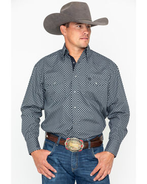 George Strait by Wrangler Men's Troubadour Long Sleeve Western Shirt, Black, hi-res