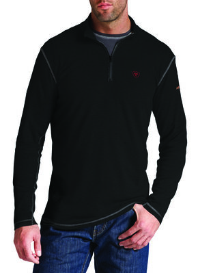 Ariat Men's Fire-Resistant Polartec 1/4-Zip Baselayer Shirt, Black, hi-res
