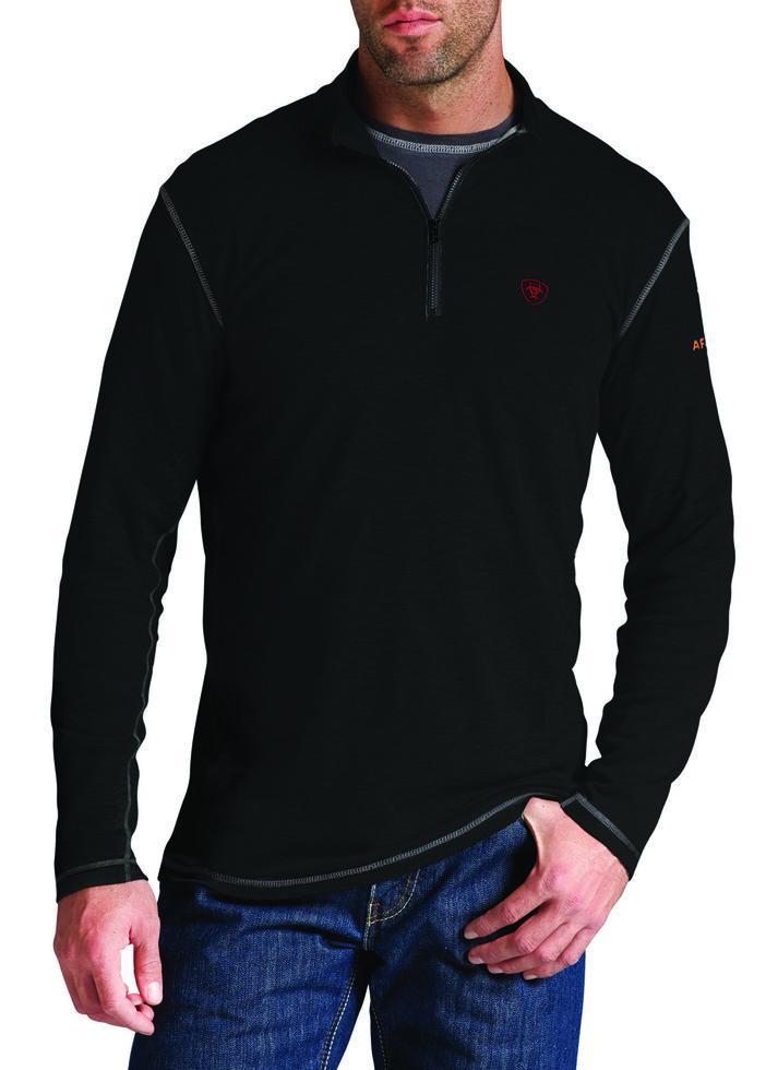 Ariat Men's Fire-Resistant Polartec 1/4-Zip Baselayer Pullover, Black, hi-res