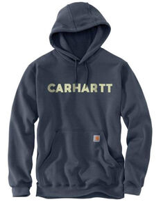 Carhartt Men's Blue Loose Fit Midweight Logo Hooded Work Sweatshirt - Big , Blue, hi-res