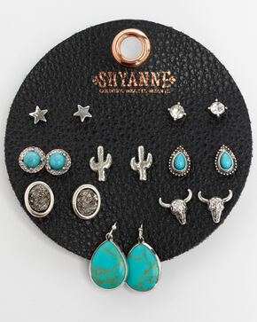 Shyanne Women's Turquoise 8 Pack Earring Patch Set, Turquoise, hi-res