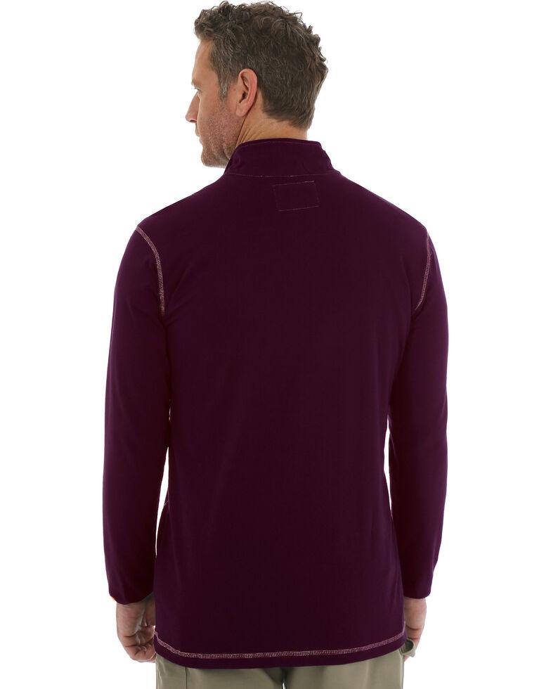Wrangler 20X Men's Flame Resistant Quarter-Zip Long Sleeve Pullover, Burgundy, hi-res
