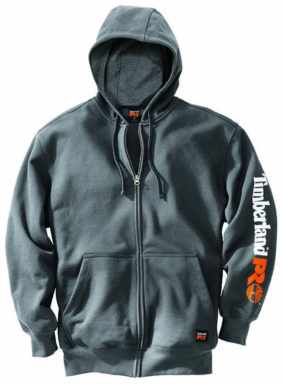 Timberland Pro Men's Hood Honcho Water-Repellent Full-Zip Hoodie, Charcoal Grey, hi-res
