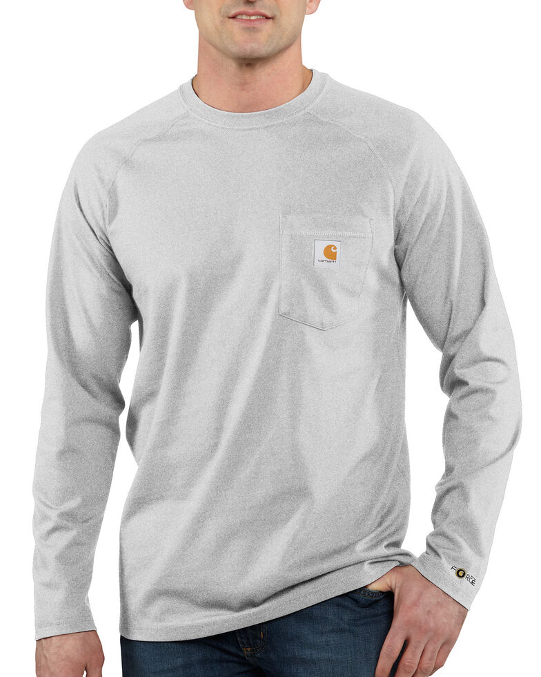 Carhartt Men's Solid Force Long Sleeve Work Shirt, Grey, hi-res