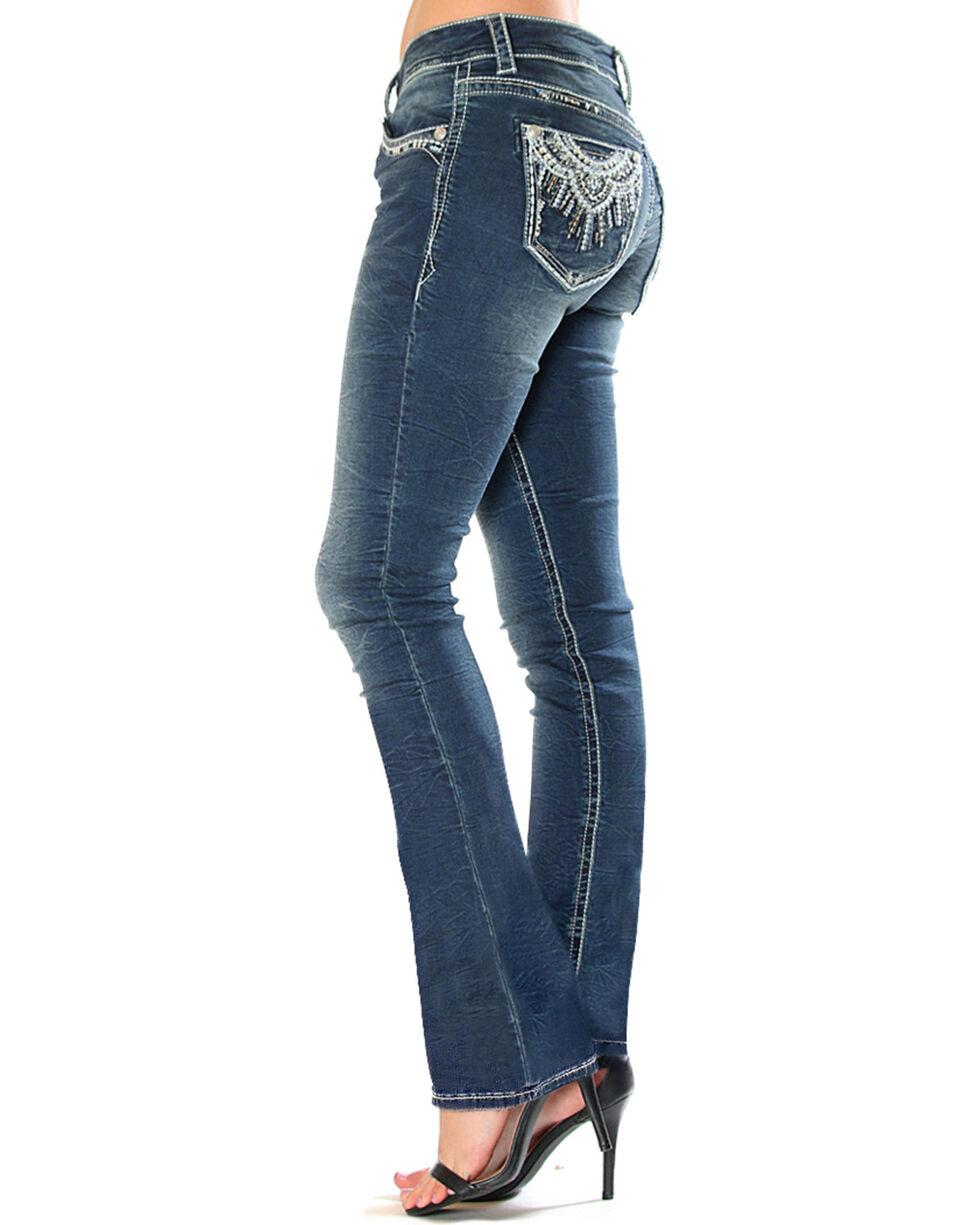 Grace in LA Women's Medallion Pocket Boot Cut Jeans , Indigo, hi-res