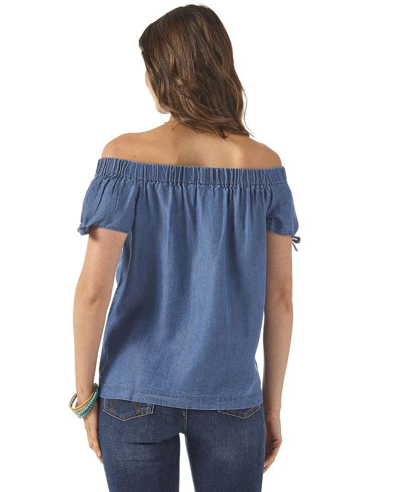 Wrangler Women's Chambray Off Shoulder Top, Blue, hi-res