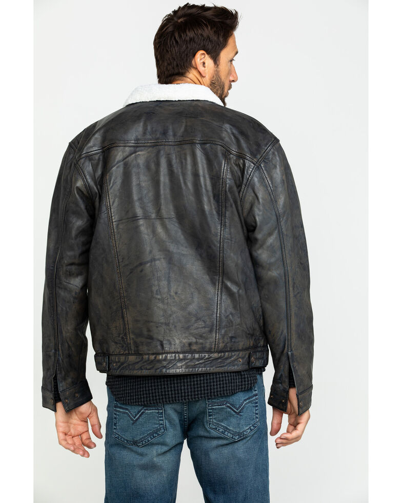 e3569a1d8 Cripple Creek Men's Black Conceal Carry Sherpa Lined Leather Jacket