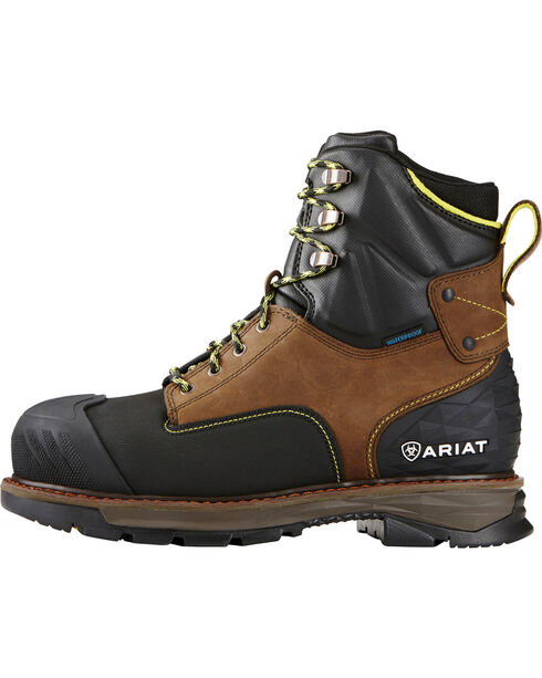 "Ariat Men's Oily Distressed Catalyst VX Work 8"" H2O Boots - Composite Toe , Brown, hi-res"