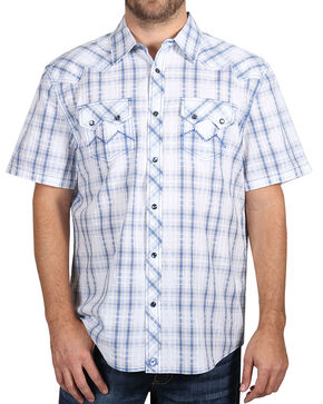 Moonshine Spirit Men's White Plaid Short Sleeve Shirt , White, hi-res