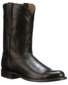 Lucchese Men's Burn Western Boots - Round Toe, Black, hi-res