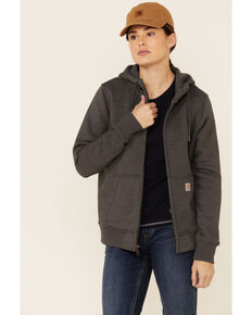 Carhartt Women's Medium Charcoal Clarksburg Full-Zip Hooded Work Sweatshirt  , Medium Grey, hi-res