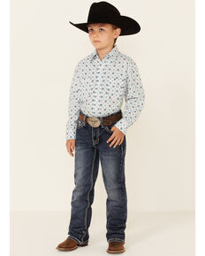 Panhandle Select Boys' Turquoise Dot Geo Print Long Sleeve Snap Western Shirt , Turquoise, hi-res