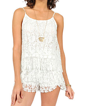 HYFVE Women's Crochet Lace Romper, White, hi-res