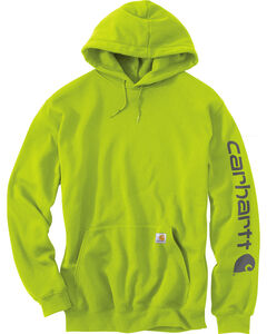 Carhartt Men's Green Midweight Hooded Logo Sweatshirt , Green, hi-res